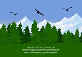 Vacker landskap scen med Albatross Silhouettes Vector