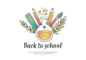 Vector Watercolor Elements with Leaves for Back to School