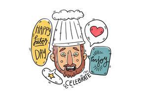 Mano, dibujado, cocinero, trabajador, labor, día, vector