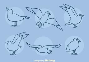Albatross Line Icons Vector