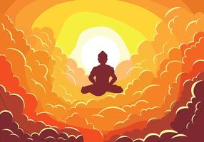 Buddah on Clouds Vector Illustration