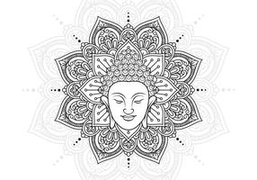Buddha Head And Lotus Mandala vector