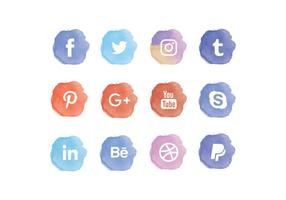 Vector acuarela Social Media Icons Set