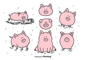 Conjunto de vector de cerdo