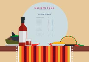 Table with Mexican Traditional Food Vector