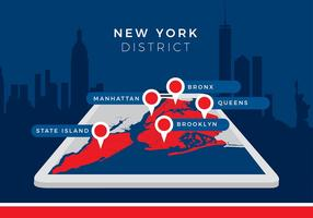 New York District Map Gratis Vector