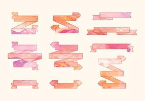Vector Watercolor Ribbons Set