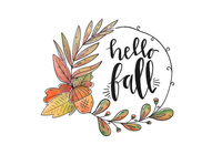 Fall Flowers And Leaves Wreath Vector