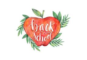 Back To School Watercolor Apple com vetor de folhas