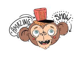 Mono lindo del circo con el vector rojo del sombrero