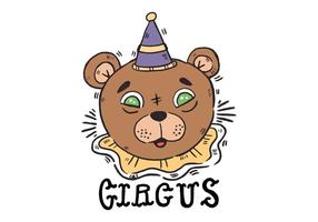 Cute Circus Bear With Green Eyes Vector