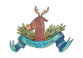 Welcome to Norway Cute Deer With Blue Ribbon Vector