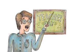 Akvarell lärare tecken bär glasögon vektor