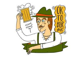 Hand Drawn German Man for Oktoberfest Vector