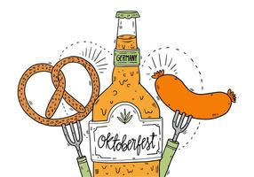 Oktoberfest Pretzel Beer And Sausage Vector