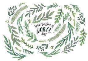 Hojas y ramas de la acuarela del vector que celebran el día internacional de la paz