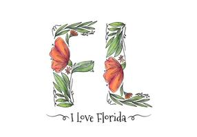 Florida Watercolor Leaves And Flower Lettering Vector