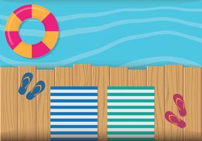 Wood Dock Vacation Illustration
