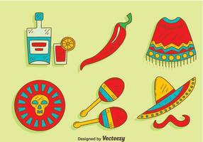 Hand getekende Mexicaanse Element Vector