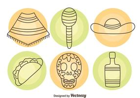 Mexican Element Icons Vector