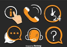 Call Center Ikoner Vector