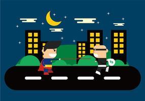 Superhéroes en el vector de la ciudad