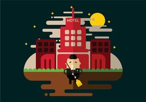 Hotel Janitor Cleaning Vector