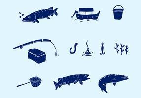 Equipamento de pesca vetorial
