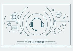 Call Center Flat Line Vector