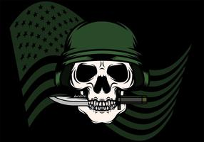 Skull With Bayonet Background vector