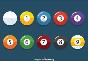 Flat 9 Ball Billiard Vector