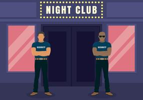 Dois Big Bouncers Standing Outside The Entrance To The Night Club Illustration