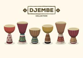 Djembe Drum Collection Vector Illustration