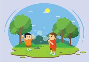 Kids Blowing Bubbles Illustration