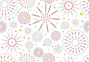Set Of Fireworks In White Seamless Pattern Background