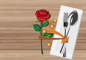 Rustic Table Setting with Serviette vector