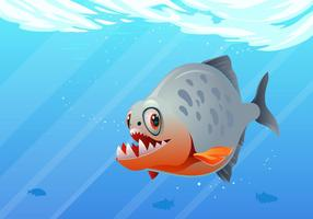 Under Water Piranha Fish Vector