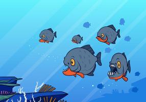 Group Of Piranha Fish Swimming Vector