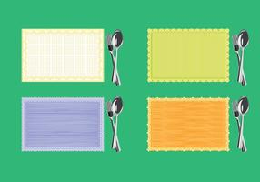 Set of Serviette or Napkin with Fork and Knife on Top View vector