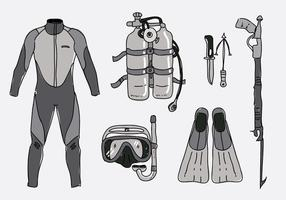 Spearfishing Equipment Collection Handdragen Vector Illustration