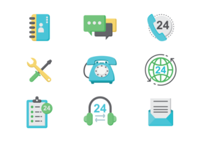 Call Center Icons Vektor