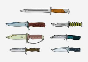 Army Bayonet Collection Handdragen Vector Illustration