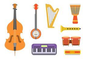 Vectores planos de instrumentos de música