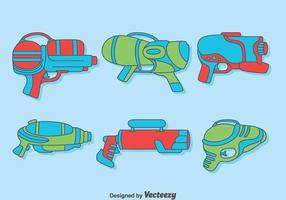Handdragen Watergun Collection Vector