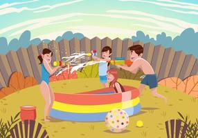 Summer Kids Playing with Waterguns Vector