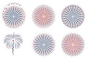 Vetor patriótico de fundo branco de fogos de artifício