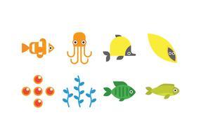 Iconos del vector de la vida marina
