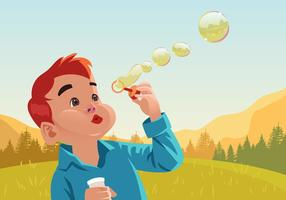 Kids Blowing Bubbles Vector