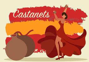A Woman Dancing With Castanets Vector
