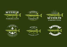Muskie Fishing Club logo template vector livre